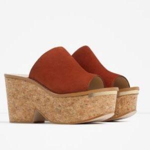 Zara} Leather and Cork Burnt Orange Wedges